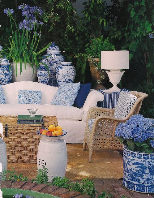 Blue and white pair up perfectly on the porch or in the garden. Image via My Pink Sketchbook.