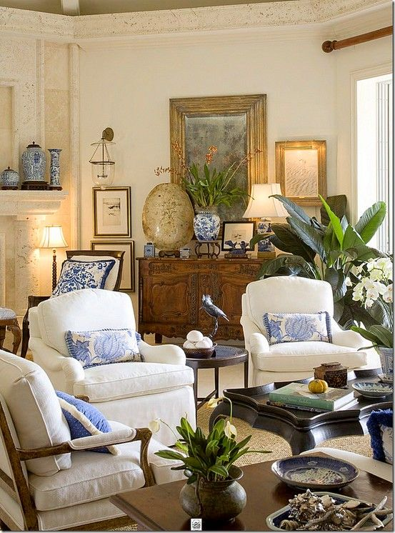 Blue And White Accent Pieces Give A Home A Classic And Timeless Feel. Image  Via