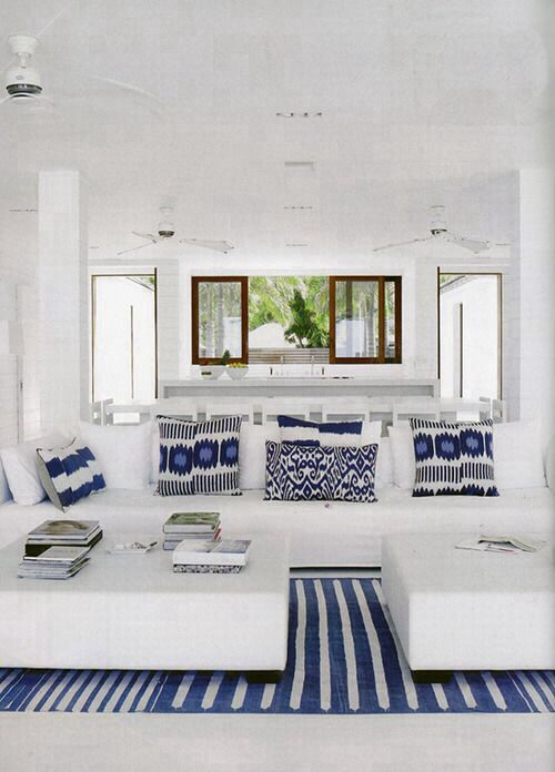 Blue and white can also evoke a bohemian island style and carefree life is good attitude! Image via Refunk my Junk.