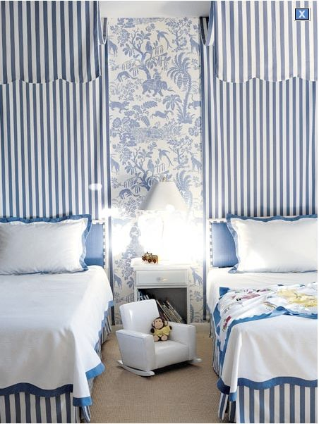 Calming, soothing and nurturing, blue and white make the perfect pairing in a child's bedroom. Image via The Inspired Room