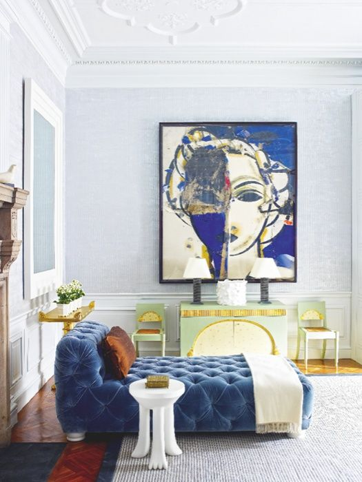 White and blue are the perfect color combination in any home. Image via Kelly Wearstler