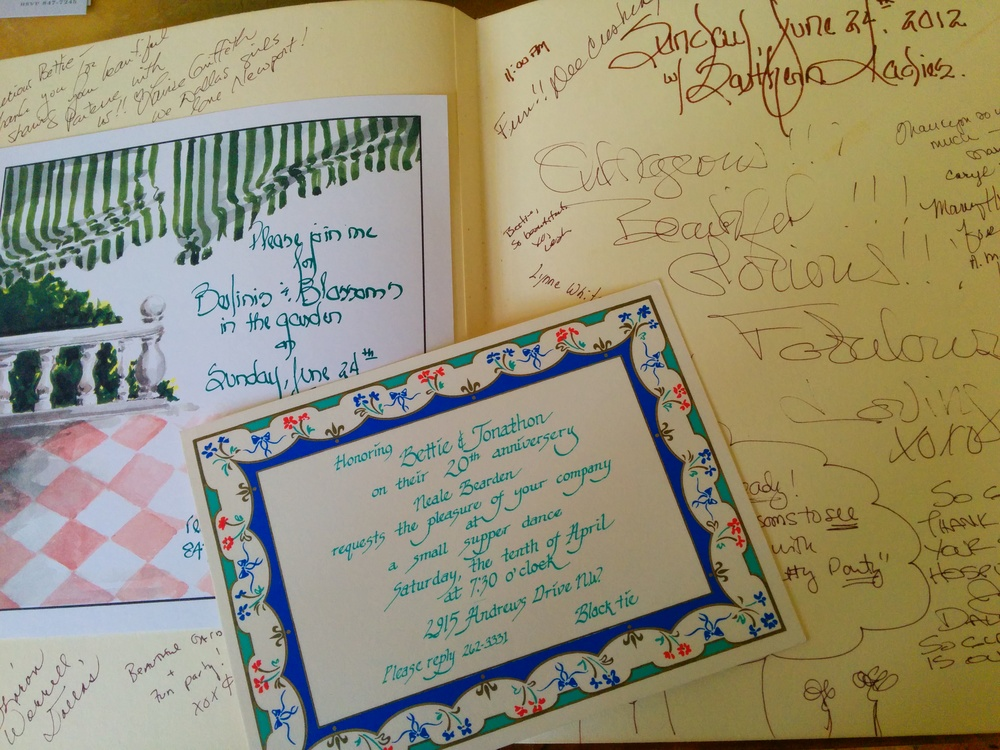 Invitations and guestbooks. Image property of Bettie Bearden Pardee