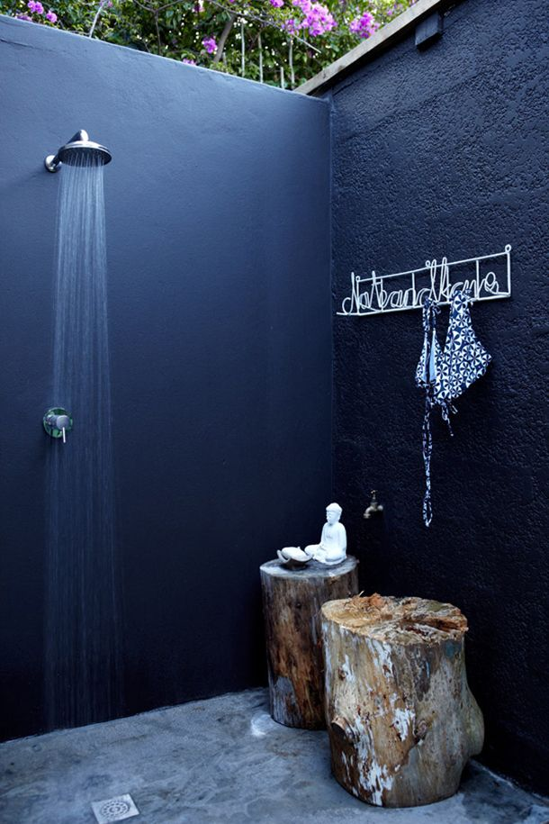 Nothing beats an outdoor shower but an indigo shower kicks it up a notch! Image Camille Styles