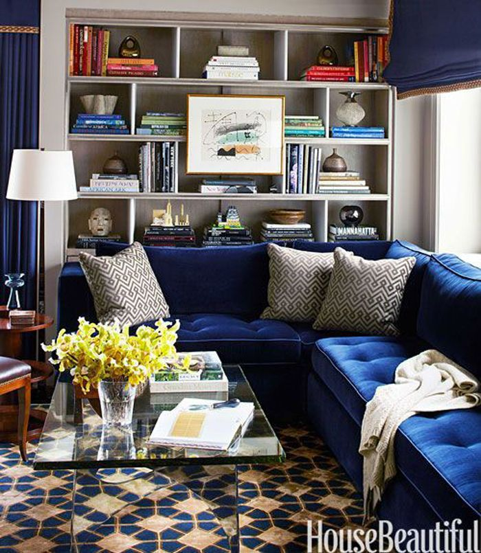 Indigo and velvet. A smooth cool that warms any home year round. Image via House Beautiful.