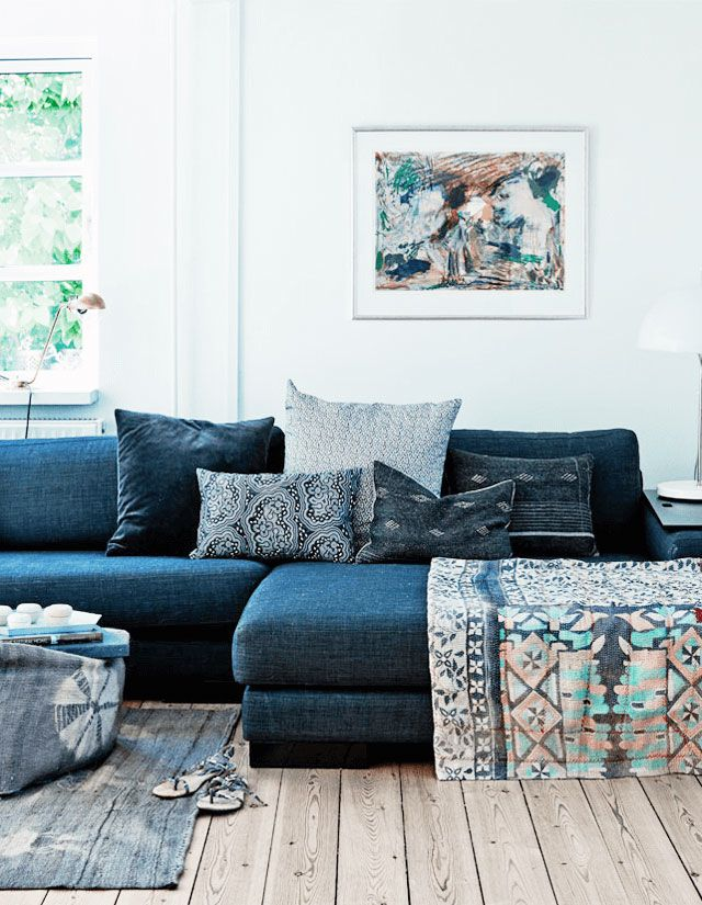 Though denim is thought to be as an all-American fabric, this indigo colored fabric adds a boho touch to a Scandinavian Home. Image via My Scandinavian Home.