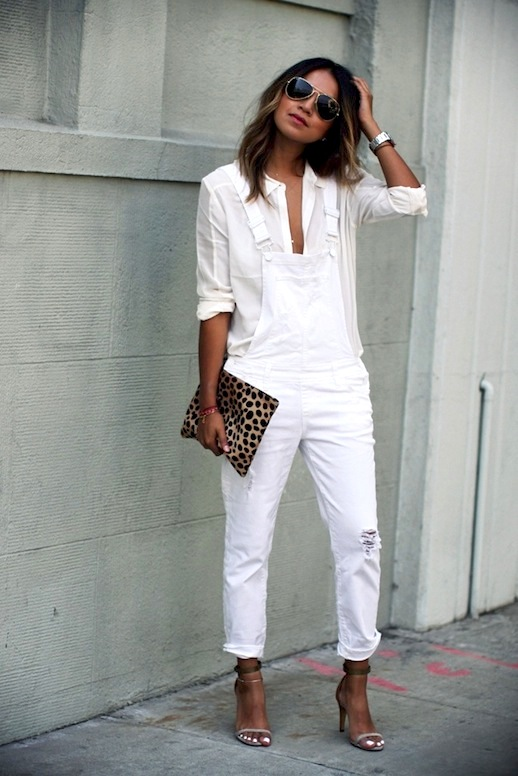 White on white. Leopard print. Pretty sandals. Say no more. Overalls go ultra chic. Image via  Le Fashion.