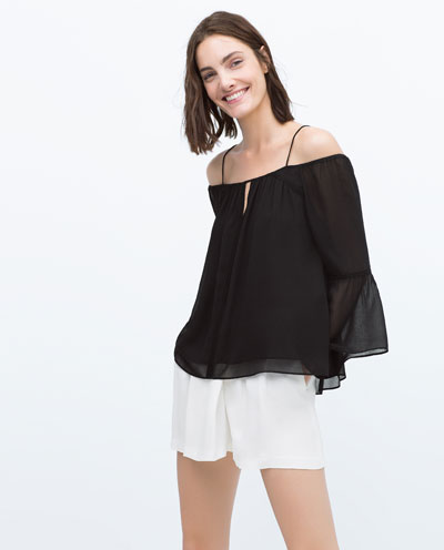 Black off the shoulder shirt by Zara