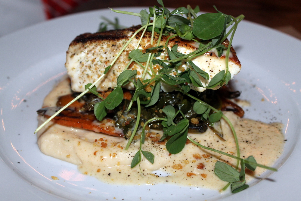 Saltaire Oyster Bar and Fish House :: Seared Atlantic Halibut au Beurre Blanc with Collard greens and Heirloom carrots