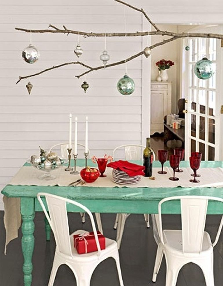 Decorating for the holidays :: Creative ways to use ornaments. The Entertaining House. Image via  Country Living