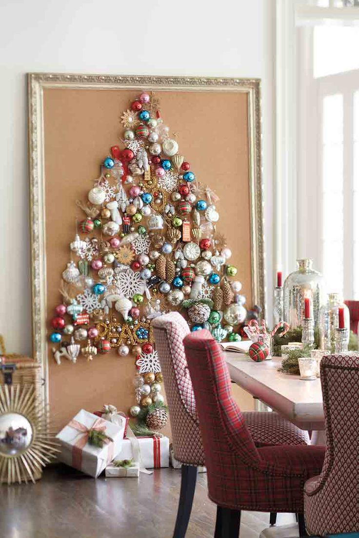 Alternative Christmas Tree Ideas Non Traditional Trees Cork Board Ornaments Dining Room Frame Presents