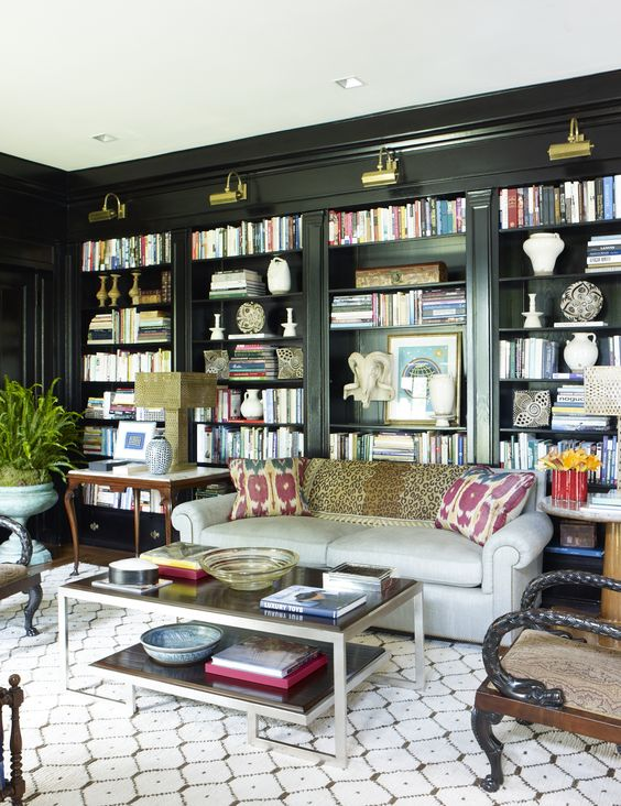Stunning ways to incorporate your book collections into your home decor. Image Bunny Williams.
