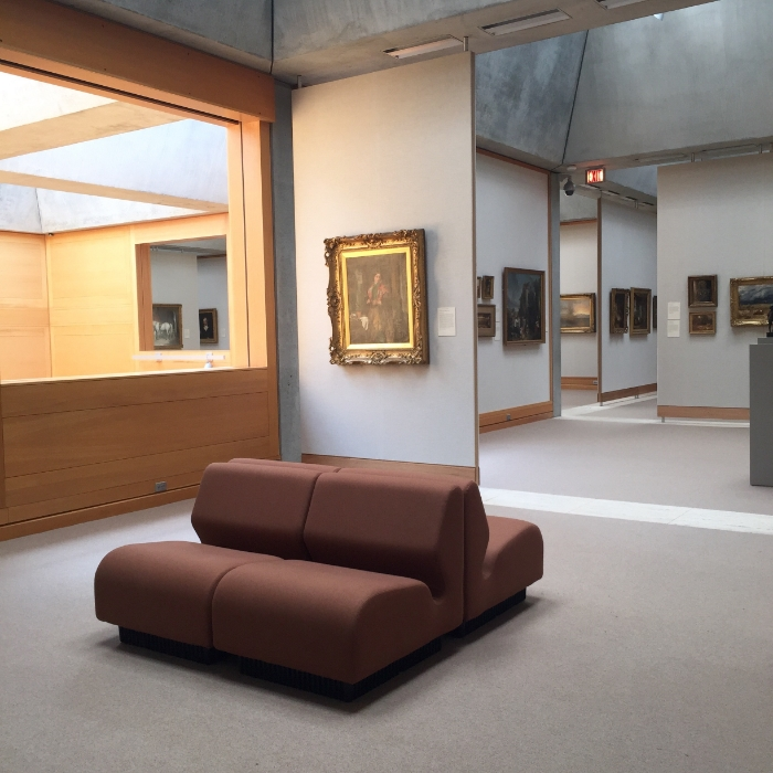 The Yale Museum of British Art. The galleries are open and airy. Cut out interior windows allow visitors to catch a glimpse into what lies ahead.