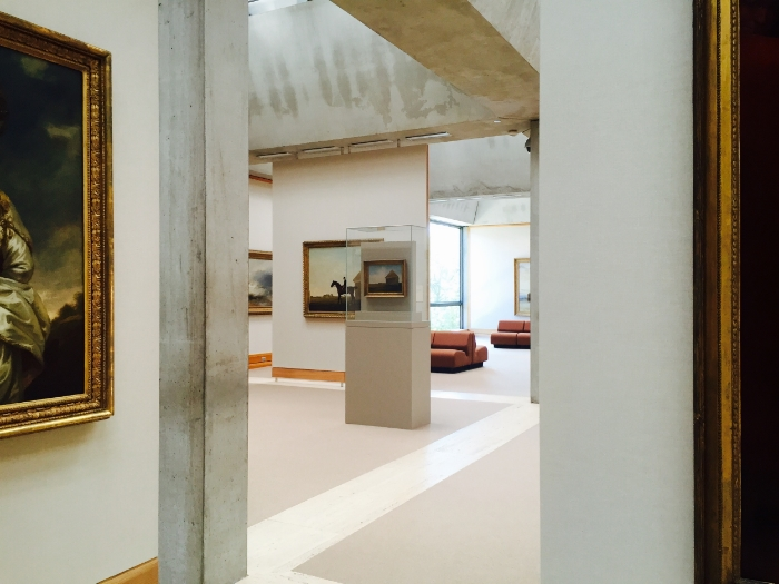 The Yale Museum of British Art. The upper level is vasty and airy, modern in structure which seems almost paradoxical to some of the heavy period pieces.