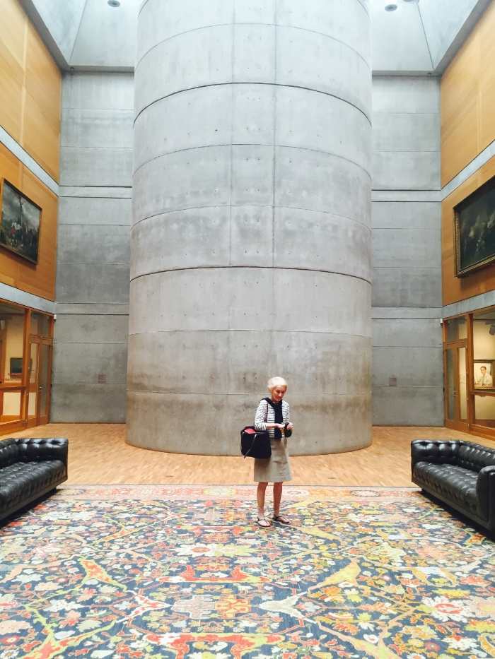 The Yale Museum of British Art. The famous cylindrical staircase. (My mother searching for quarters so I can feed the meter!)