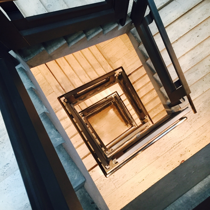 The Yale Museum of British Art. Inside the concrete cylindrical stair case. In this case a square very much fits into a round peg!