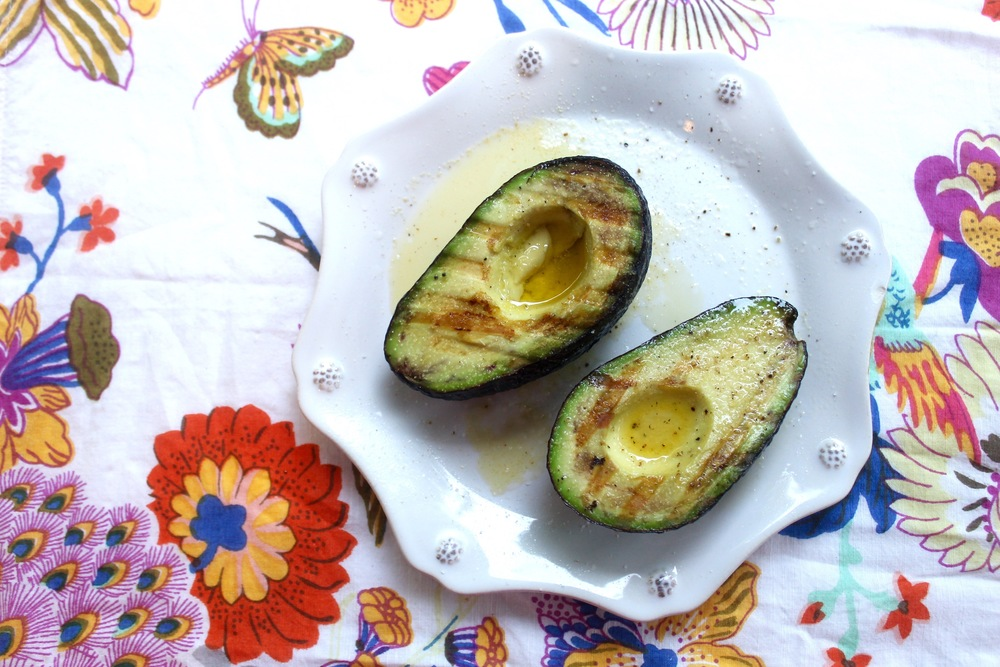 Grilled Avocado with Lemon and Olive Oil via The Entertaining House. Plate/Juliska Napkin/Anthropologie