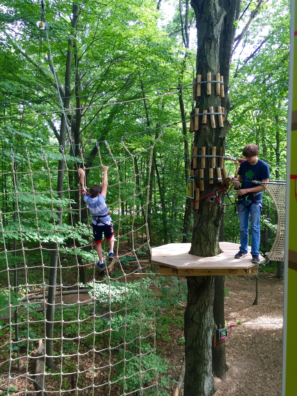 Go Ape Review. The Entertaining House. All images shot with iPhone 6. Alexander, 10, has just landed his Tarzan free-fall jump and climbs over to the tree as Christopher prepares his next task.