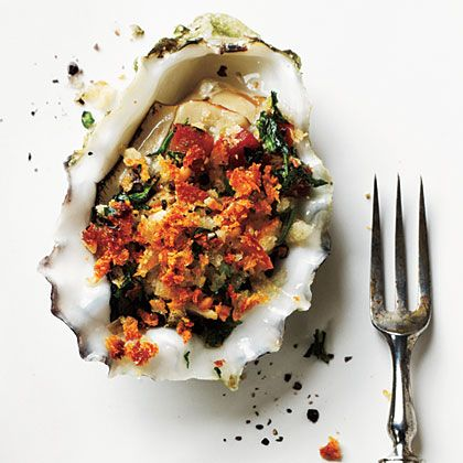 Stylish Bites :: Celebrating National Oyster Day. Image via Jessica Gordon Ryan/The Entertaining House - Maybe you prefers your roasted... with Pancetta! The recipe is for the taking at  My Recipes .