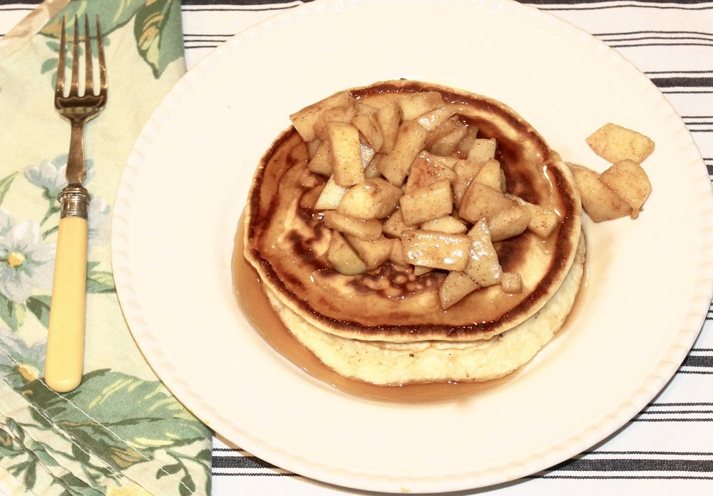 Apple pie pancakes with warm Maple Syrup via The Entertaining House