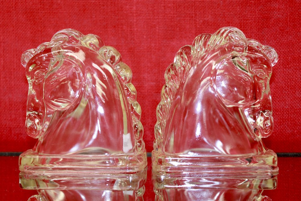 Lattice House's Pop-On-Pequot Arrives for the Holidays Glass Horse Bookends circa 1930s - 1950s
