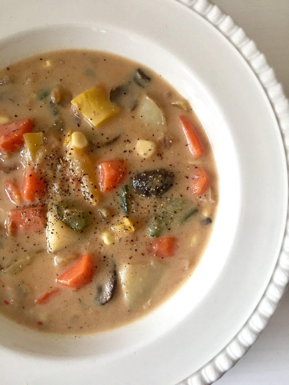 Hygge-inspired Lightened up Creamy Mushroom Vegetable Soup. Image The Entertaining House