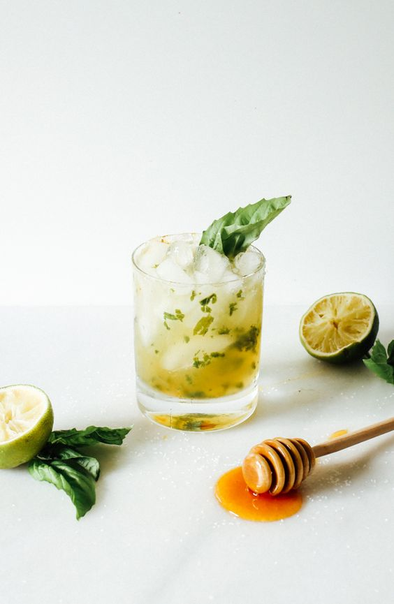 National Margarita Day. Recipes and Roundups. Honey Basil Margarita via  The Wood and Spoon