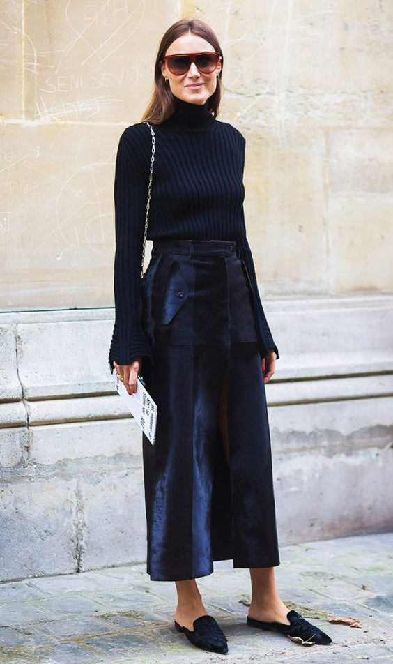 Celebrating the Little Black Sweater. Image via Who What Wear