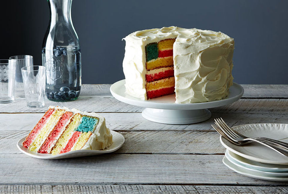 10 Red White + Blue Desserts - American Flag Cake via  Country Living