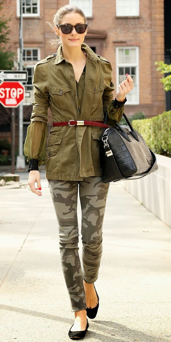 Camo worn Stylishly. Image via WHo What Wear
