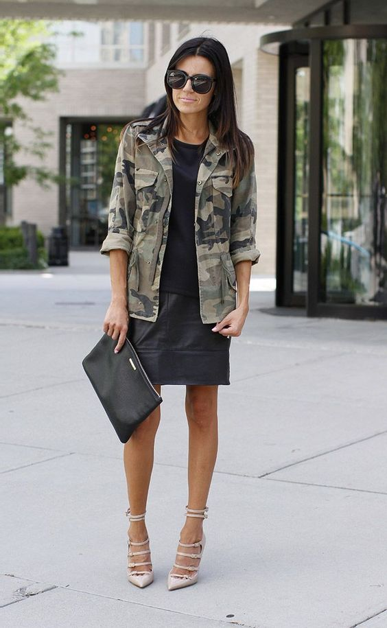 Camouflage gets sophisticated when paired with a dress and pretty heels. Image via Cut Y Paste