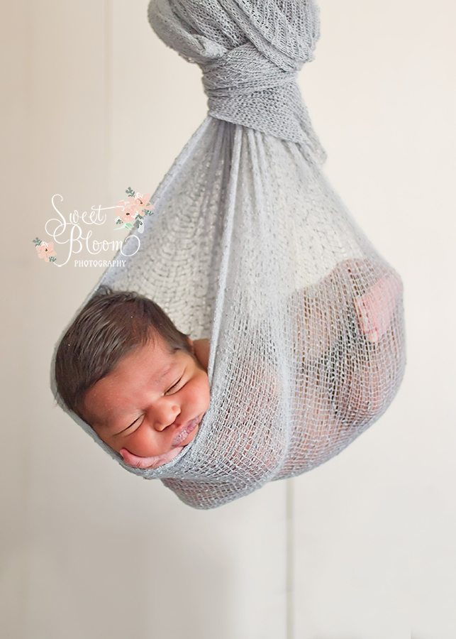 Dayton Ohio Newborn Photographer | Newborn Hammock | Stork Pose | Sweet Bloom Photography | www.sweetbloomphotography.com