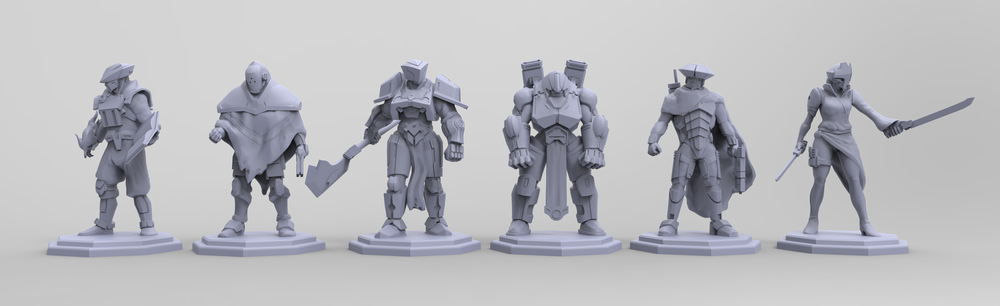 "Sculpted player pieces for Garage Collective's board game, working title ""Technomages"""
