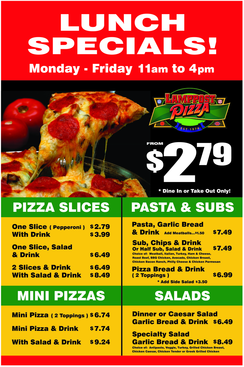Lamppost Pizza EYL Lunch Specials