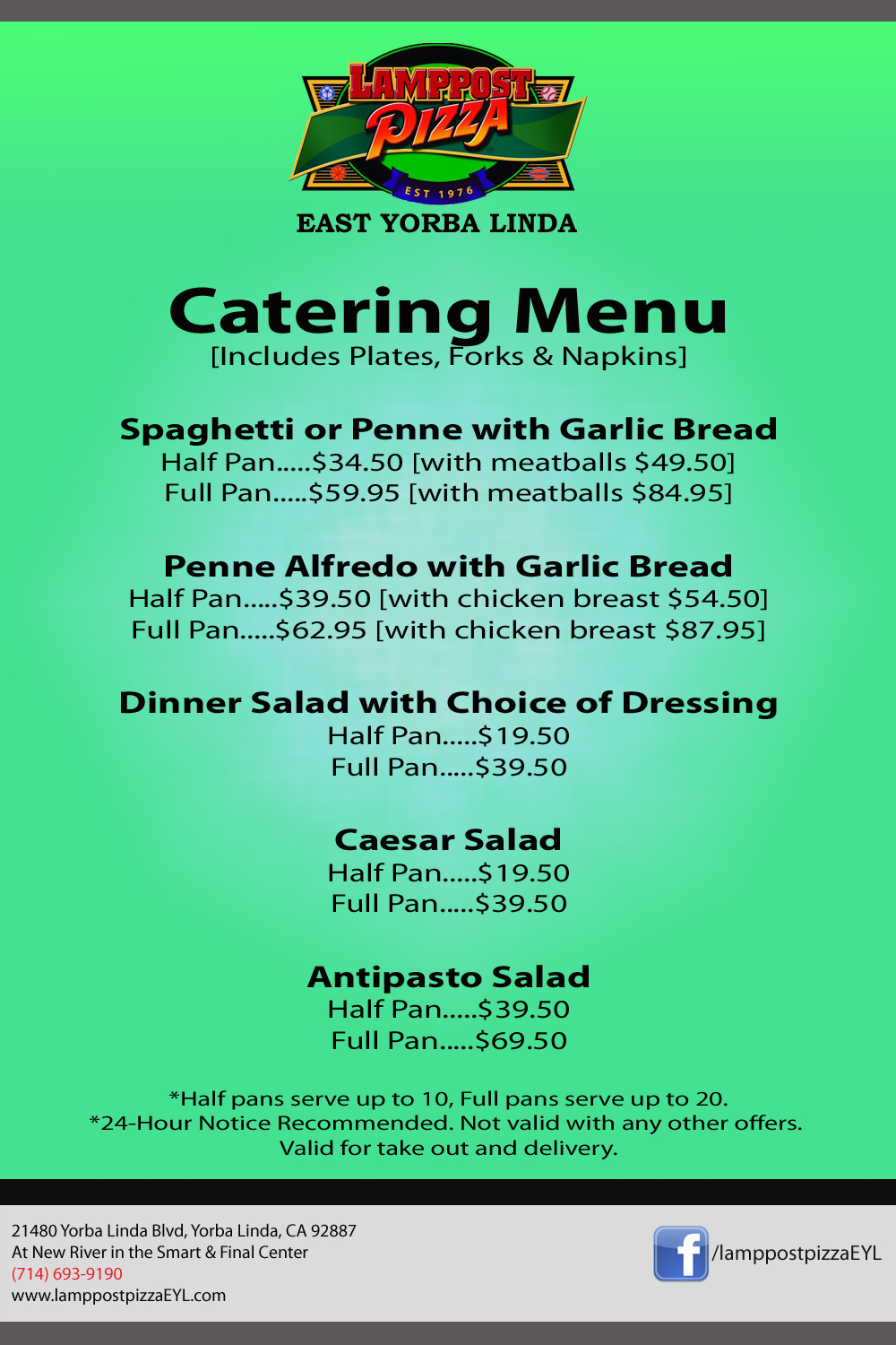 Lamppost Pizza Catering Menu