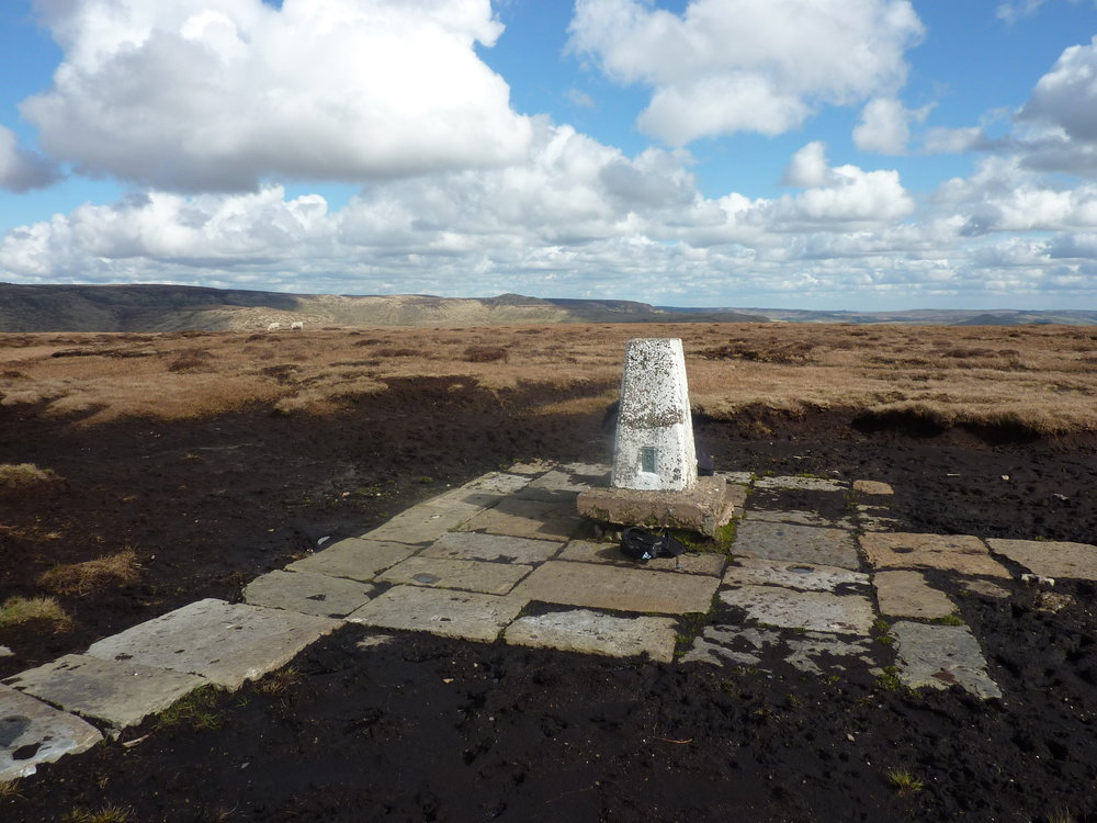 The final trig point on Brown Knoll....now paved, gone the days of knee deep bog!! Thought of them before turning for home & completion.