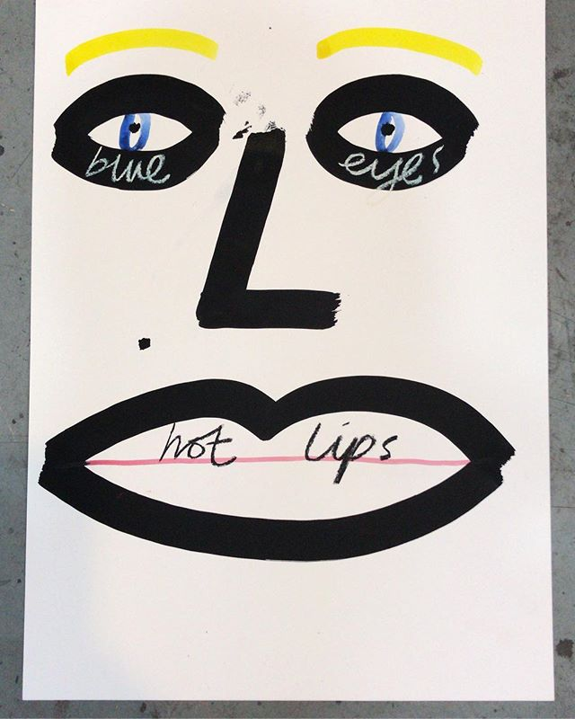 """Hot Lips"" 42*60 cm Ink, pastel and watercolour on paper. 🔹 👀🌶👄#ink #pastel #watercolor #handlettering #contemporaryart #artonpaper #face"