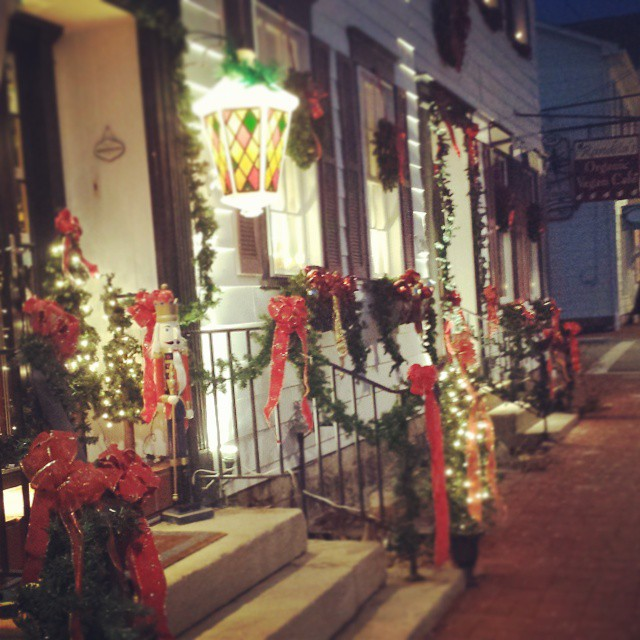 It's a beautiful night for a stroll down Main Street! The shops are getting ready for Light Up Night on Friday. #mainstreet #Saxonburg #drool #themainstay #lightupnight