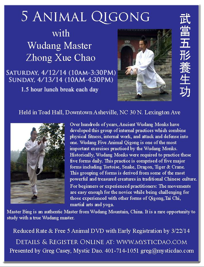 Asheville, NC April 5 Animal Qigong