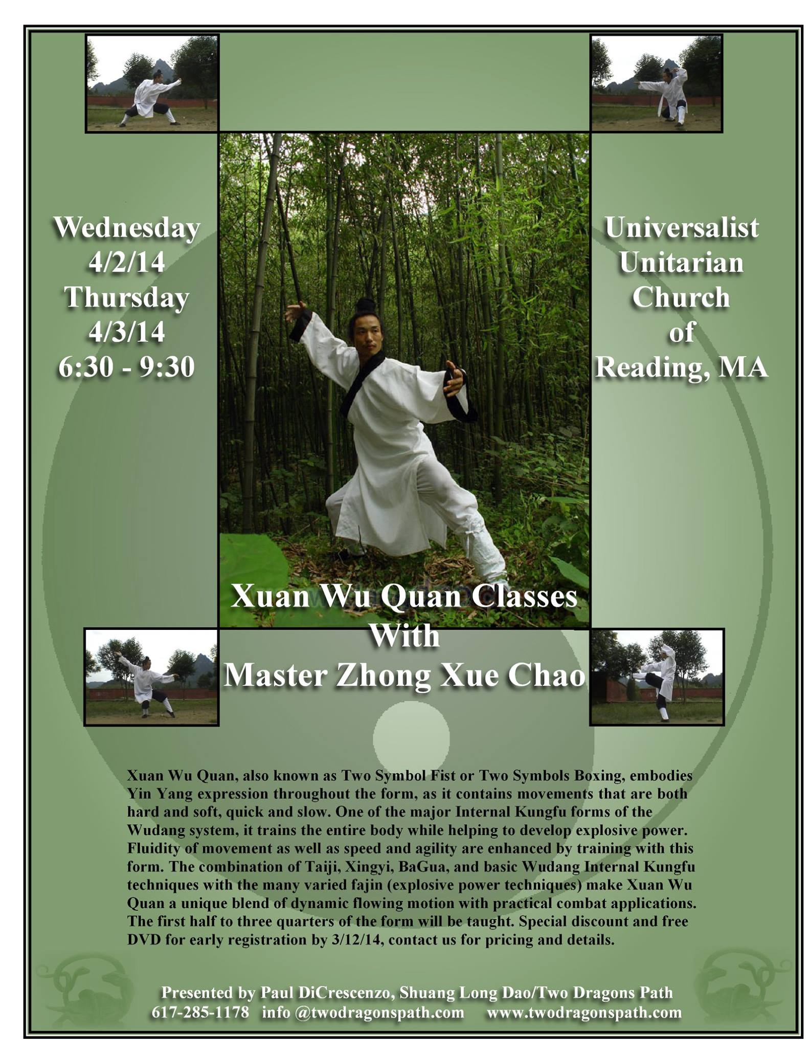 Xuan Wu Quan Weeknight Classes in Boston, MA, April 2nd & 3rd, 2014
