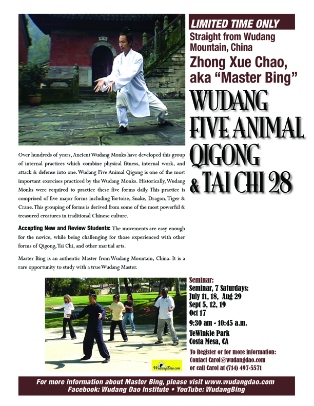 Wudang Five Animal Qigong & Tai Chi with Master Zhong Xue Chao