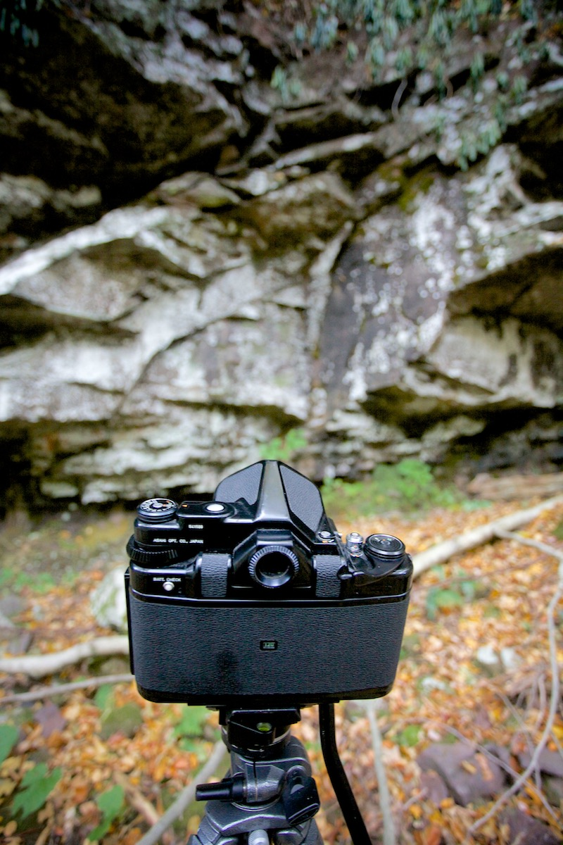 My big Pentax during a shoot along a creek near where we camped
