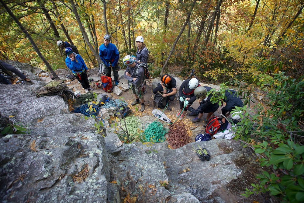 The group preparing for their multi pitch climb of Seneca Rocks