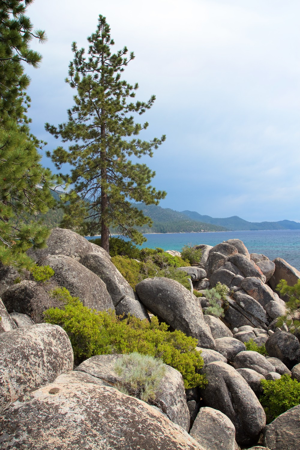Granite boulders along the other edge of Sand Harbor