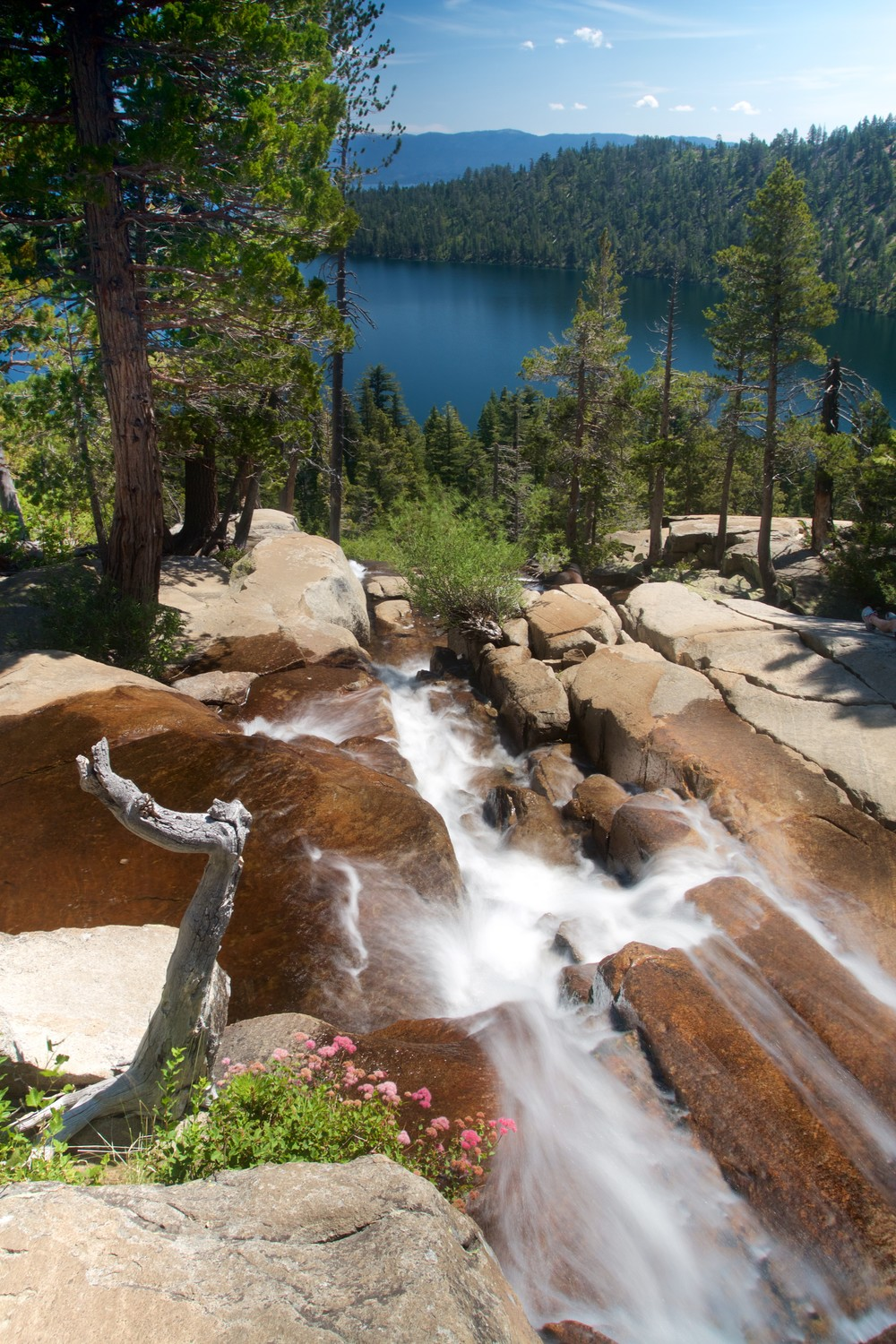View from Cascade Falls over Cascade Lake and Lake Tahoe. A roughly 1/2 second exposure at f/11 with my Canon 7D, 17-40L, and Neewar Vari-ND filter.