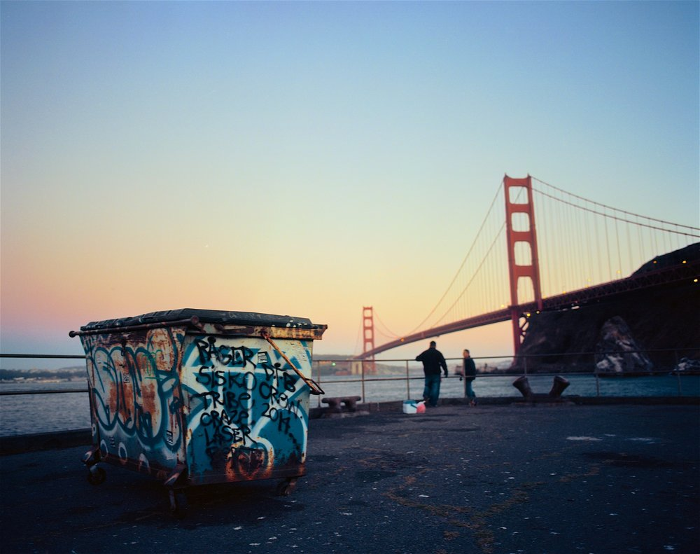 Golden Gate Dumpster, 2015. Pentax 6x7 + 55mm f/4. Plenty of color pop but more subtle than Velvia or even Provia