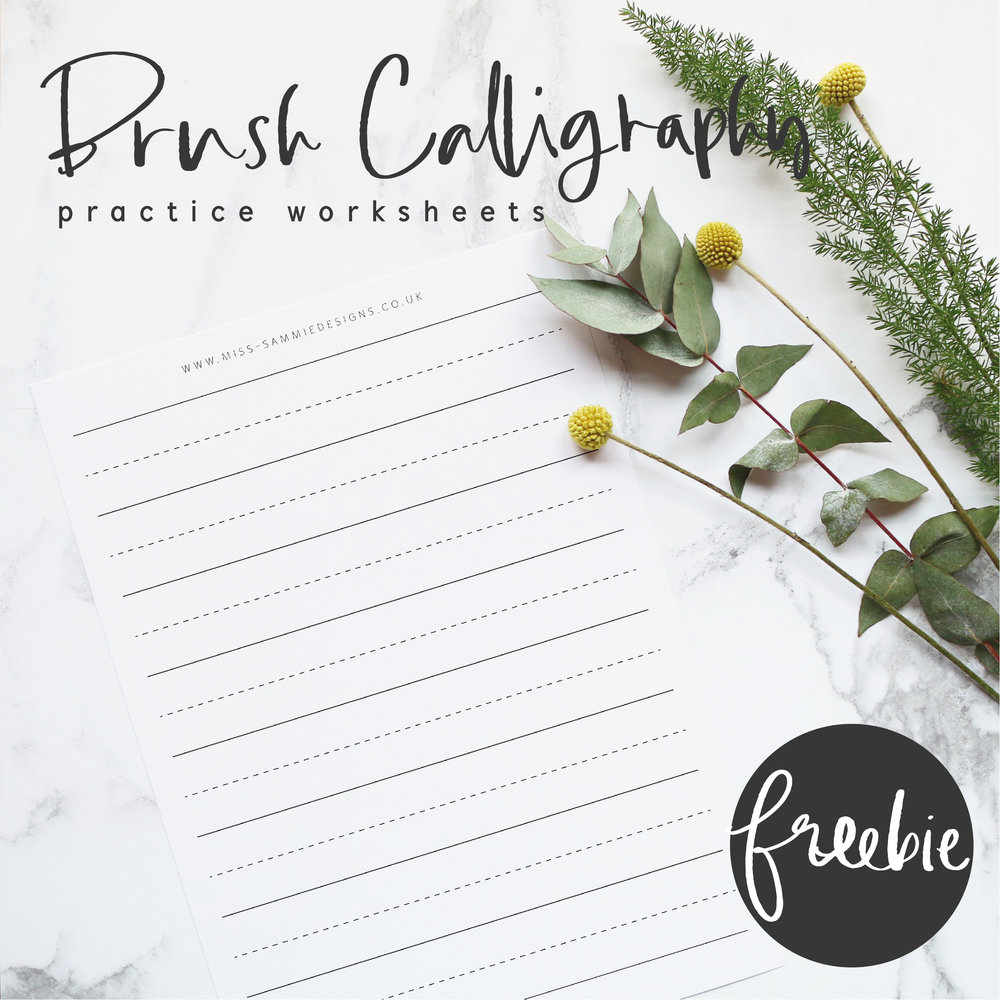 Brush Calligraphy Guide Practice Sheets - Brush Calligraphy Guide Practice Sheets - available for a limited time only as a freebie.Available in SMALL | LARGE