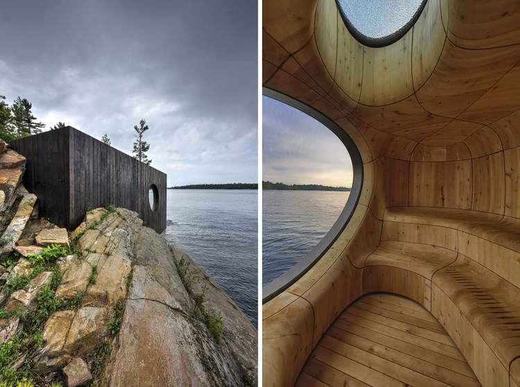 The Grotto Sauna is an 800-square-foot sweat chamber perched on the edge of a private island just outside Toronto, by PARTISANS [750x558] [OS]