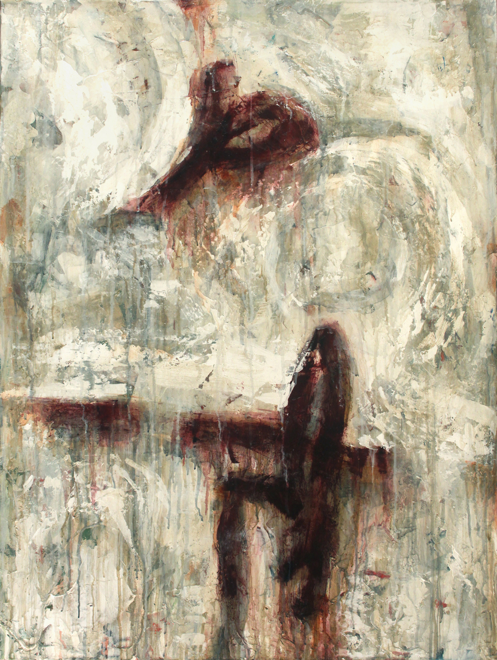 "Processed Maroon  Oil and Acrylics on Canvas 30""x40"", 2012 Private Collection"