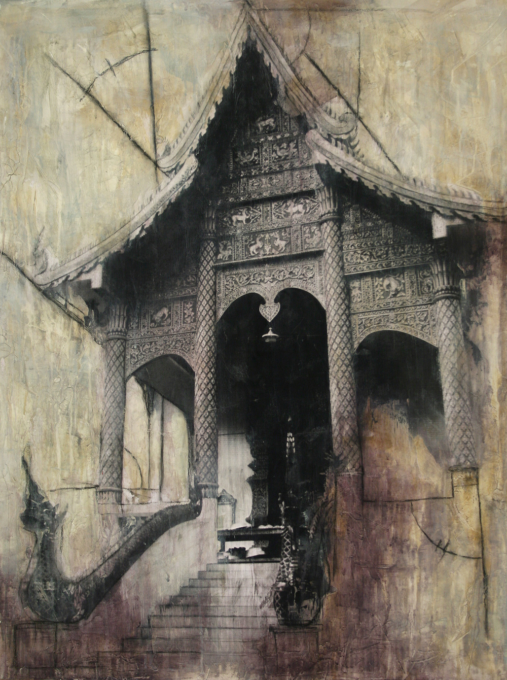 "Wat Temple  Mixed Media on Canvas 30""x40"", 2009 Private Collection"