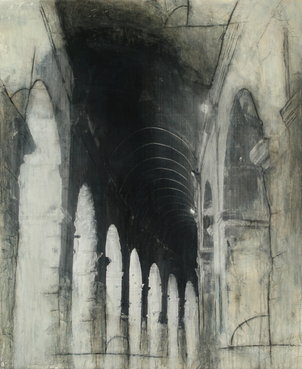 "Colosseum Halls  Mixed Media on Canvas 36""x44"", 2009"